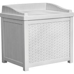 22 Gallon Small Wicker Storage Seat - White
