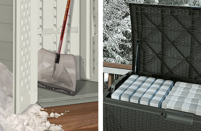 Snow shovel and deck box