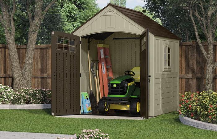 Filled storage shed