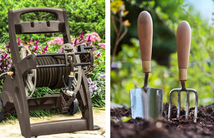Hose reel and gardening tools