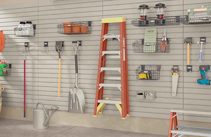 Garage slat wall organization