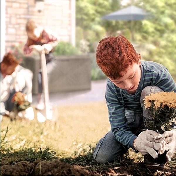 Boy gardening
