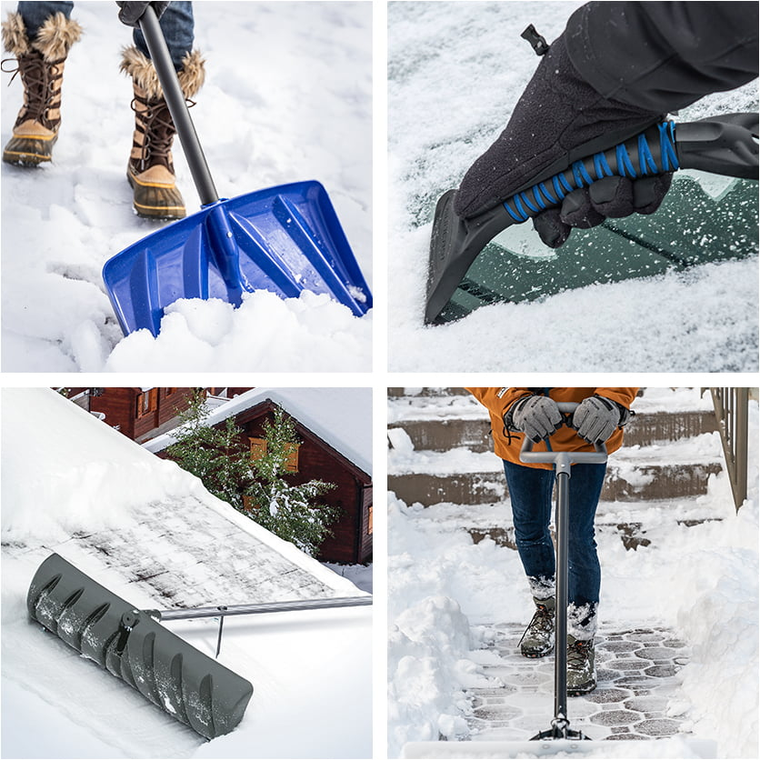 Collage of snow and ice removal