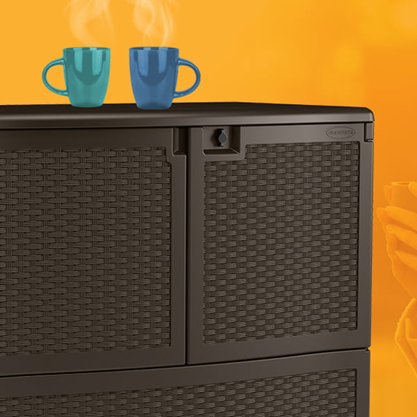 Storage with warm beverages resting on top