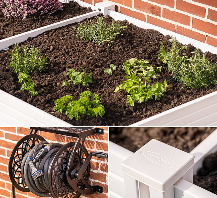 Collage containing photos of a garden box, wall-mounted hose reel, and a close-up of the garden box