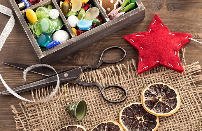Craft supplies arrayed on a table top