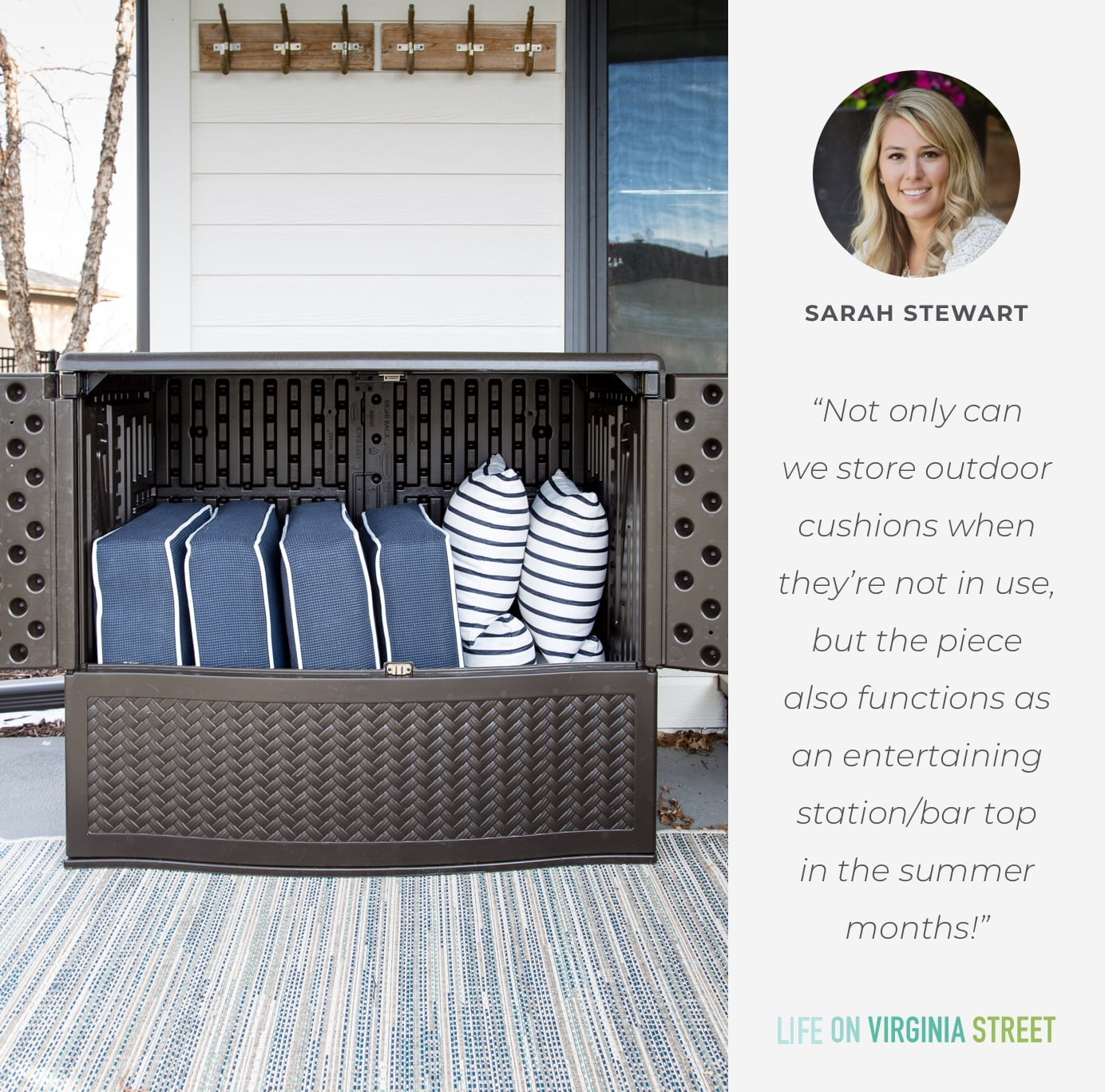 Not only can we store outdoor cushions when they're not in use, but the piece also functions as an entertaining station/bar top in the summer months!